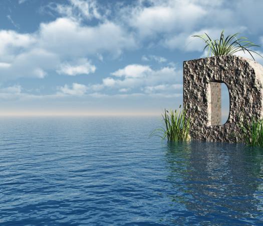 letter D rock in water landscape - 3d illustration