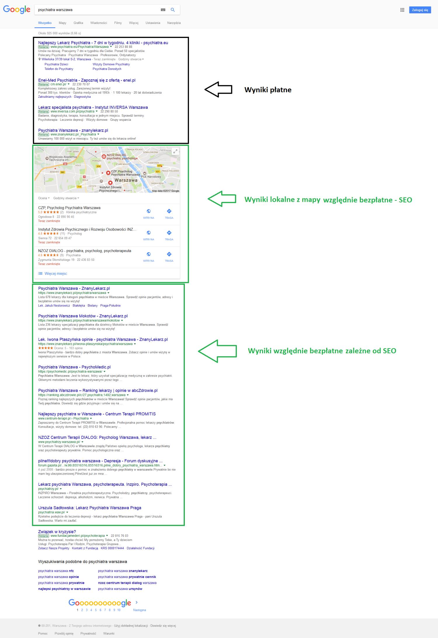 wyniki wyszukiwania google psychiatra warszawa